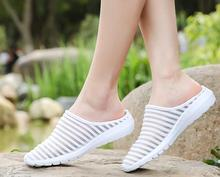 2018 New Summer Women Slippers Soft Breathable Mesh Beach shoes Woman White  Slides Female Casual Shoes d2d7165cab70