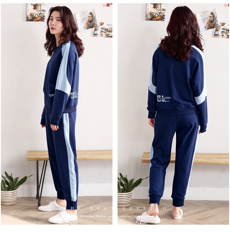 Women\`s sports pajamas autumn cotton long-sleeved home service size ladies suit loose tops plus elastic pants two sets of women\`s pajamas (21)
