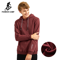 Pioneer Camp autumn winter warm fleece men hoodies brand clothing thicken hooded sweatshirts male 100% cotton AWY702306