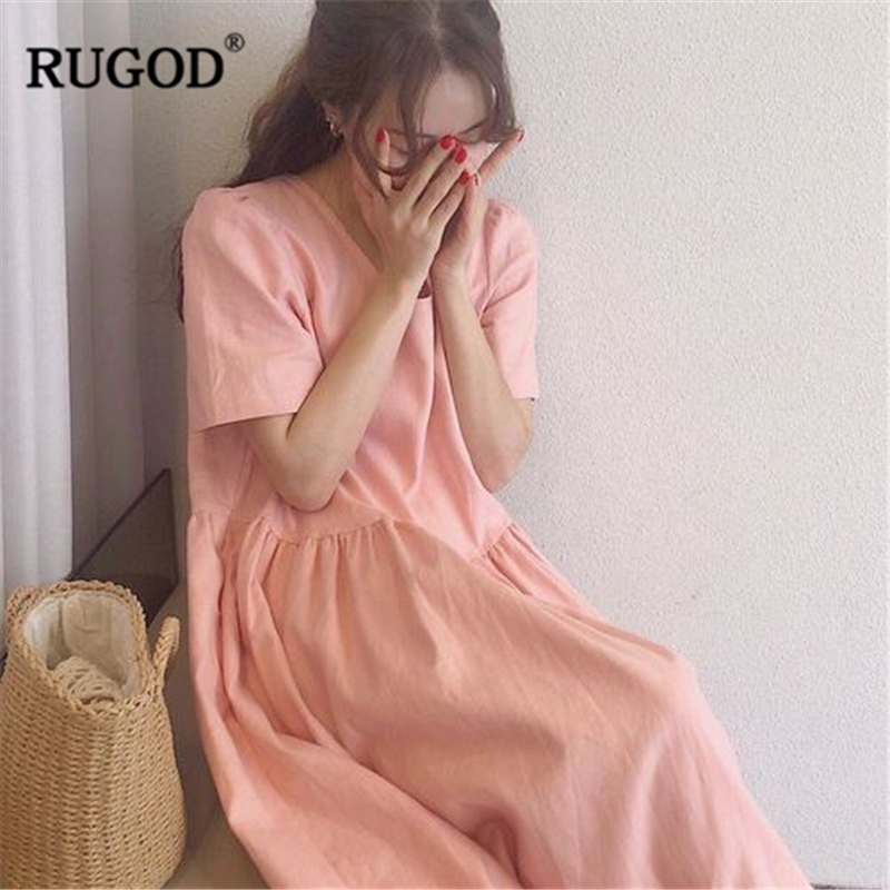 RUGOD 2019 New Arrival Women Solid Cotton And Linen Loose Dress O-neck Short SLeeves Candy Colors Slim Vestidos Sweet платье