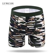 LUWCON 2Pcs/lot Camouflage Cotton Men's Underwear Boxer Shorts Silky soft underpants Male Boxer Long Homewear Plus Size