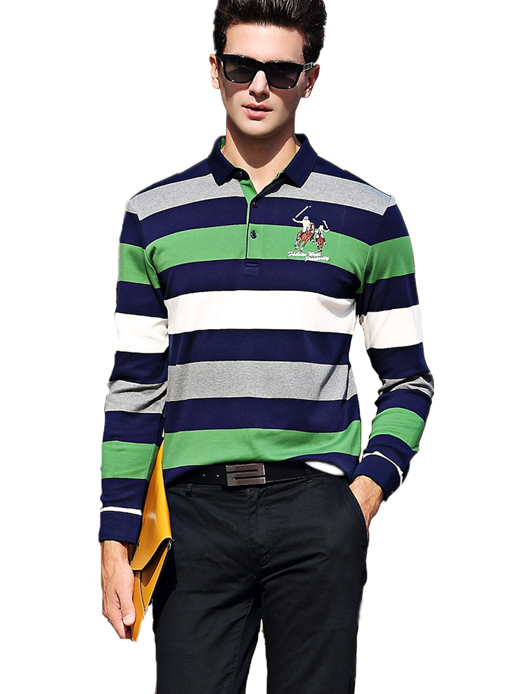 Hollirtiger Contrast Color Polos Para Hombre Printed Long Sleeves Autumn Polo Shirt Men 100% Cotton Comfortable Men's Polo Male