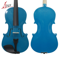 TONGLING Blue Acoustic Violin 4/4 3/4 1/2 1/4 1/8 for Beginner Students w/ Case Bow Rosin Shoulder Rest Mute Strings