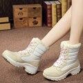 Nueva Moda de Invierno Al Aire Libre de La Nieve se Deslizan en Botas Cuñas Planas de Los Zapatos de Las Mujeres de Esquí Impermeable Zapatos Calientes Del Algodón