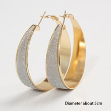 Charming Jewelery 1 Pair Summer Style Rhinestone Inlaid Frosted Hoop Round Woman Earrings Color Gold Silver Plated(China)