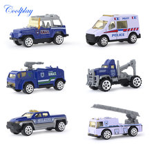 6PCS 1:64 Scale Mini Sliding Alloy Car Truck Model Children Toys Vehicles Fire Engine Police Concrete Car Model Toy for Kids }
