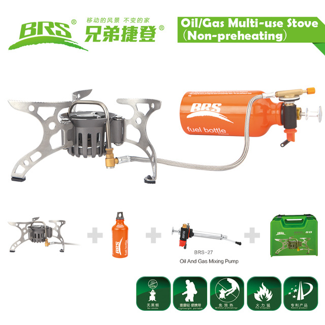 BRS-8B non- preheating portable outdoor camping oil / gas multi-purpose stove brs 29 free shipping camping outdoor stove gasoline stovesimple oil stove non preheating stove