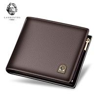 Laorentou Men Standard Wallets Genuine Leather Short Wallet Cowhide Wallets Casual Men Luxury Purse Card Holders Zipper Wallets