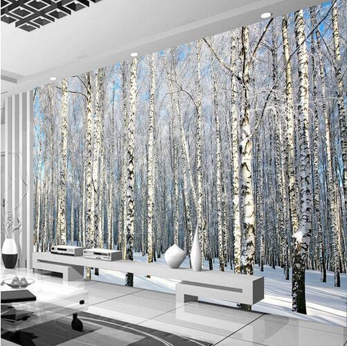 Birch wallpaper mural papel mural 3d for living room for Papel mural living comedor