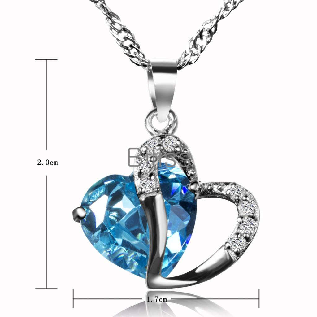 925 Sterling Silver Pendant Necklace CZ Heart