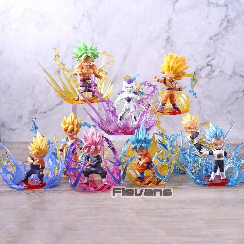 Dragon Ball Super WCF rafale Rose noir Goku dieu bleu végétto Broly Freeza Figure Brinquedos jouets figuraux poupées 9 pièces/ensemble