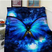 Blankets Comfort Warmth Soft Cozy Air conditioning Easy Care Machine Wash Butterfly Blue spot
