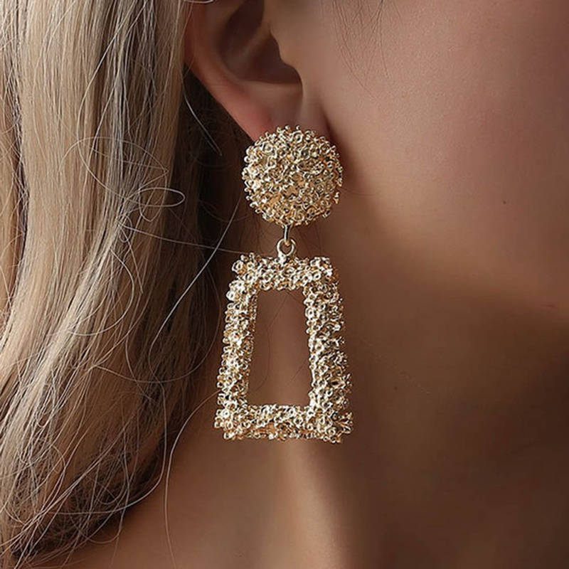 European And American Exaggerated Atmosphere Scrub Tidal Geometry  Creative Personality Relief Trapezoidal Long Earrings