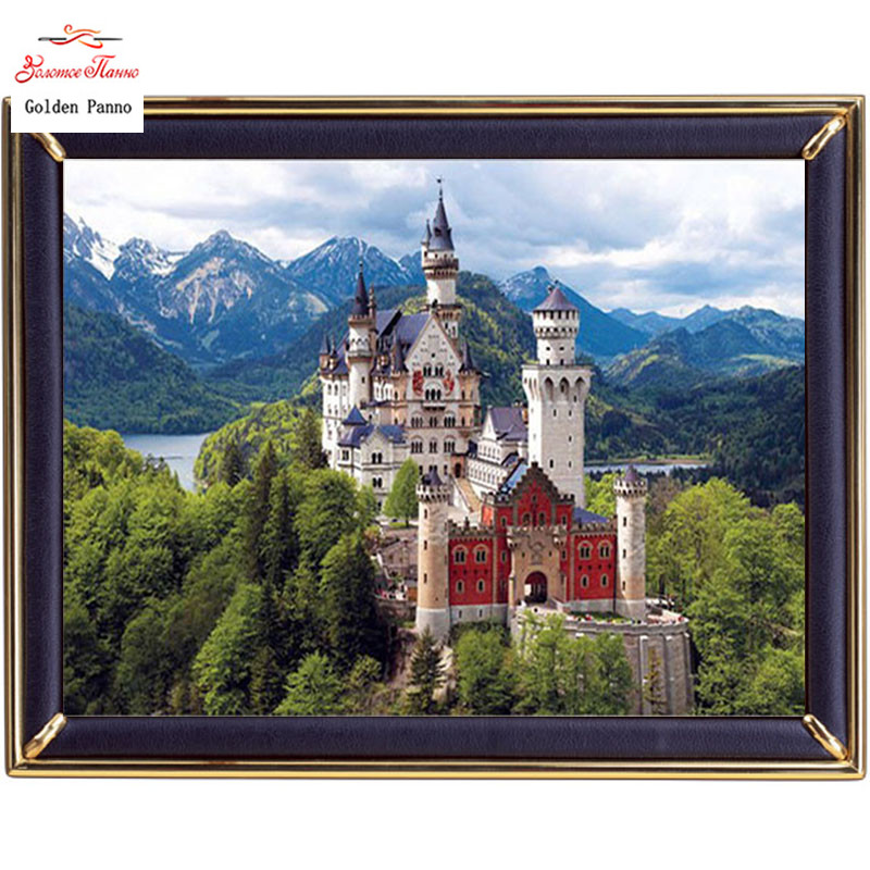 Golden Panno,Needlework,DIY DMC Cross Stitch,Sets For Embroidery Kit 14ct Unprinted Cotton Thread Europe Castle Cross-Stitching