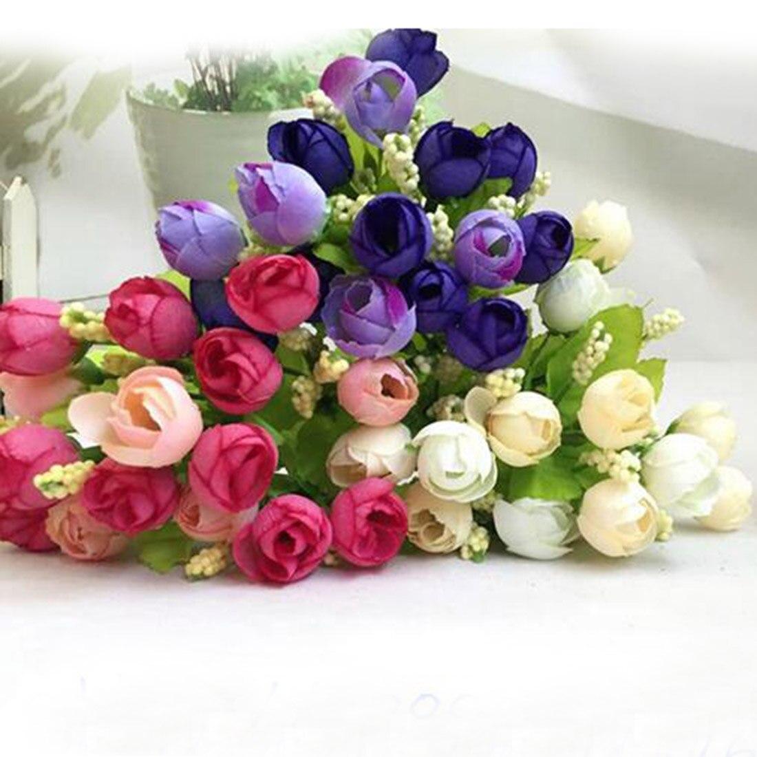 Superior de La Manera Hermosa Artificial Mini Rose Buds 15 Yemas 1 Ramo de La Bo