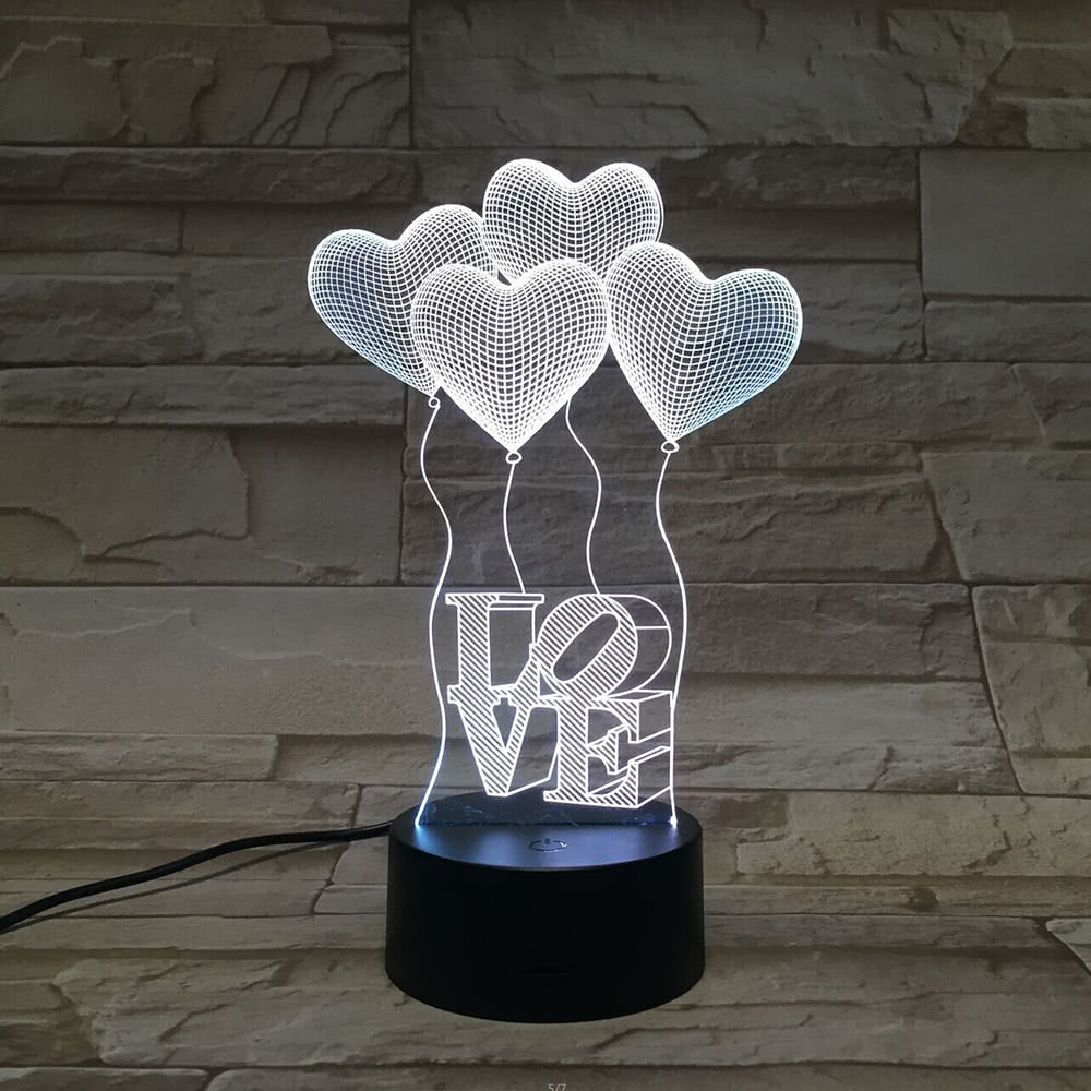 3D Creative Acrylic LED Wall Light Romantic Atmosphere Heart Shape Balloons Night Light for Home Locations Hotel Corridor image