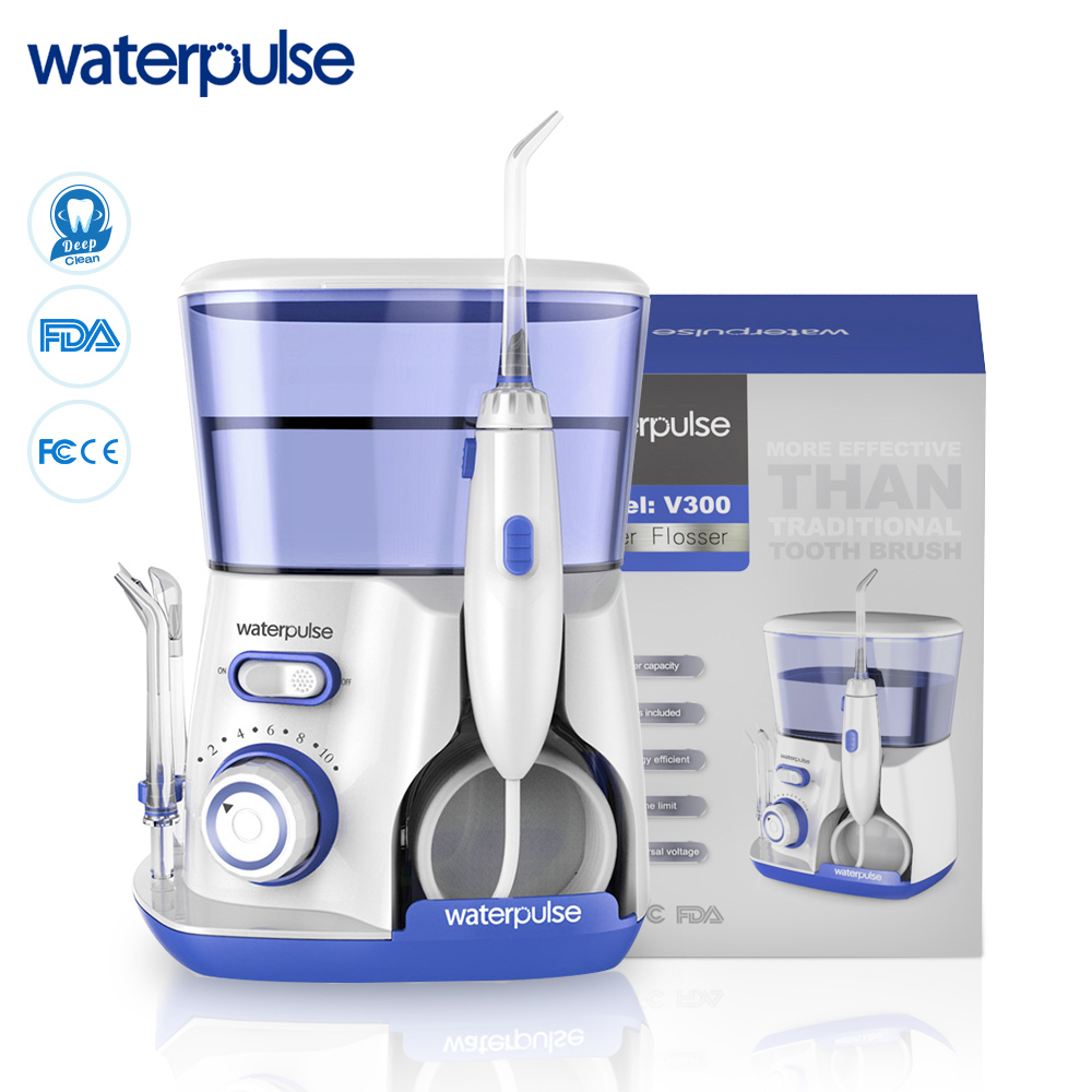 Waterpulse V300 Irrigator 800ml Dental Water Flosser 10 Pressures Oral Irrigator Oral Hygiene With 5 Tips Blue Dental Flosser