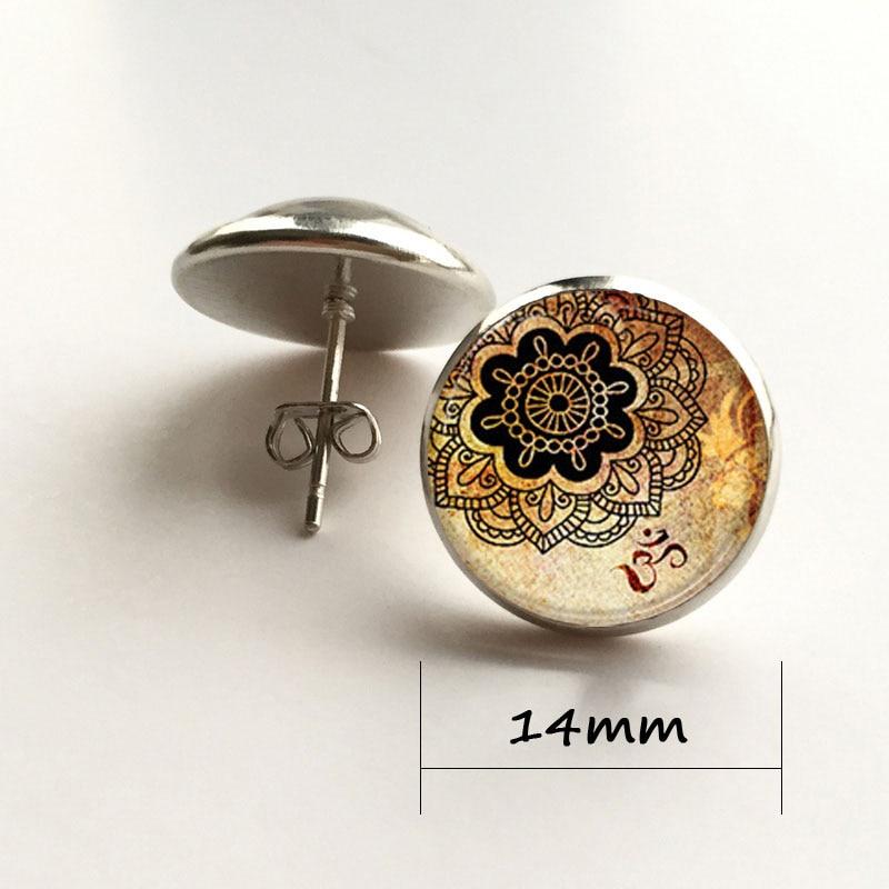 Mandala Fleur Cabochon Verre Bronze Boucles D/'oreilles Bijoux pour Femmes Cadeau