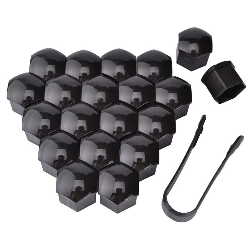 Espeeder 20 pçs 17mm parafuso da porca da roda cabeça tampa de proteção tampas de parafuso decoração exterior proteger jantes de parafuso prata