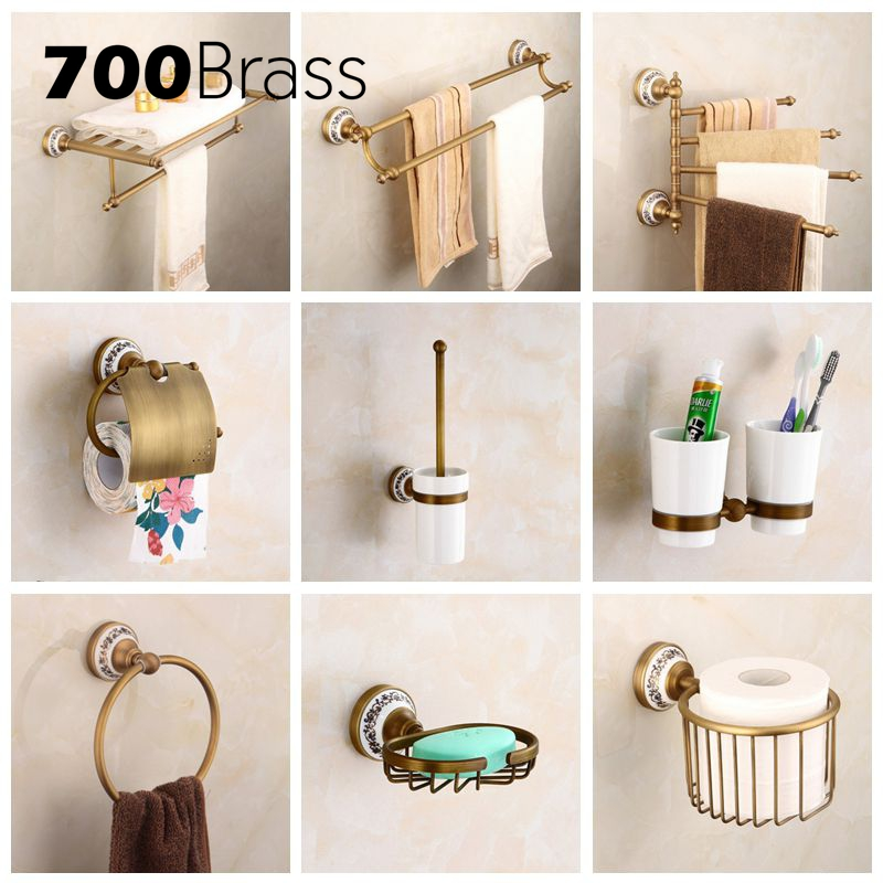 Antique Bathroom Accessories Brass Toilet Paper Holder Towel Rack Holder Ring Wall Mounted Bath