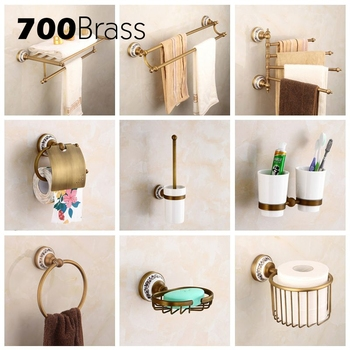 Antique Bathroom Accessories Brass Toilet Paper Holder Towel Rack Holder Ring Wall Mounted Bath Hardware Sets solid brass bathroom towel rack single bar carved holder antique brass bathroom towel holder wall mounted