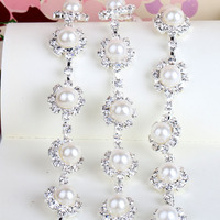2yards Pearl Clear Crystal Rhinestone Cup Chain Trims Applique Silver Plating For Garment Sewing