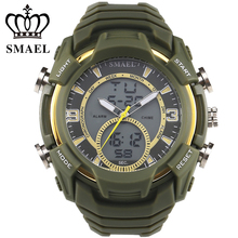 Большие Спортивные Часы Мужчины Двойной Дисплей Наручные Часы СВЕТОДИОДНЫЙ Цифровой Кварцевые Часы Армия Армия Противоударный Моды Часы relogios WS1349