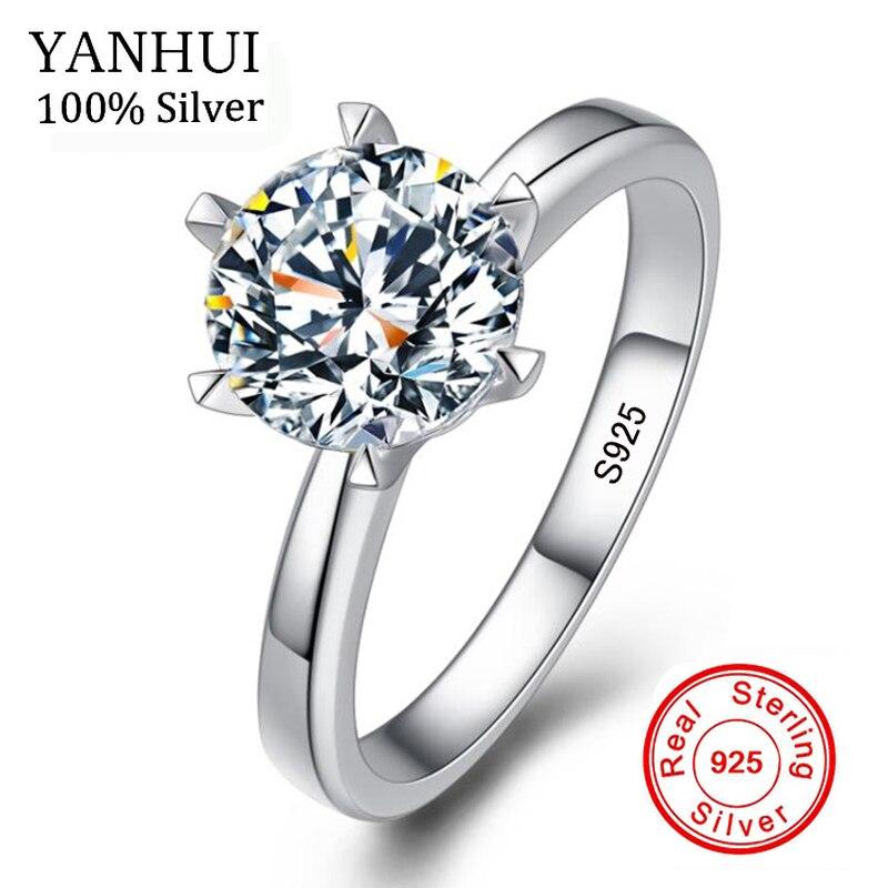 Grande Promotion Naturel Réel 925 En Argent Sterling Anneaux De Mariage Bijoux 6 & 7mm Zircone CZ Diamant Bagues de Fiançailles Pour femmes BR121