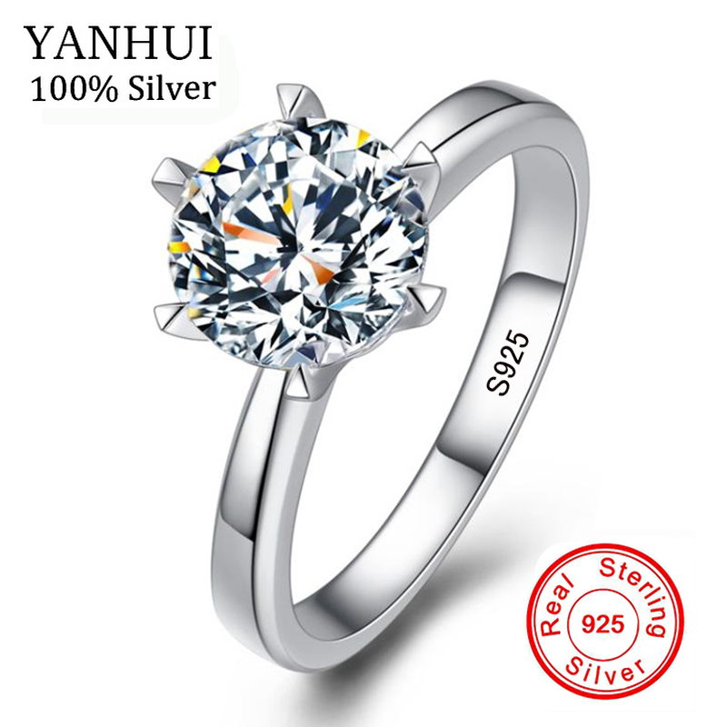 Grande Promozione Naturale Reale Dell'argento Sterlina 925 Squilla I Monili di Nozze 6 & 7mm Zirconia CZ Diamant Anelli di Fidanzamento Per donne BR121