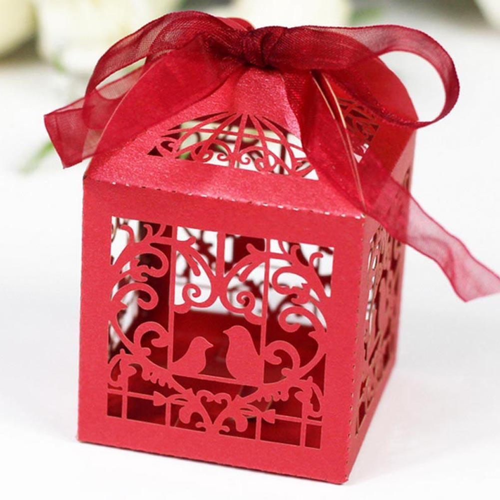 1x Red Cut Love Heart Laser Gift Candy Boxes Wedding Party Favor ...