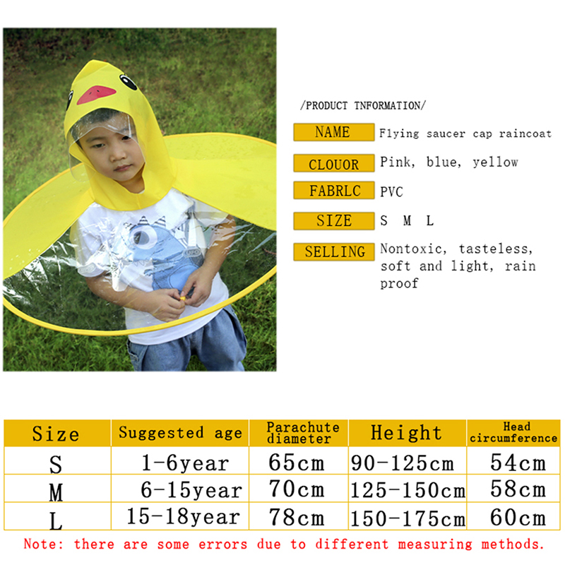 Outdoor Cloak Transparent Waterproof Cute Cartoon Duck Children Umbrella UFO Shape Rain Hat Cape Foldable W8