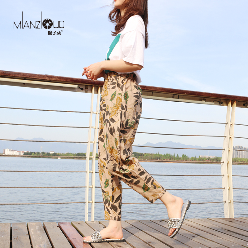 2019 New Pants For Loose Cotton Linen Korean Women Pants Plus Size Cargo Radish Harempants Trousers Casual Elastic High Waist