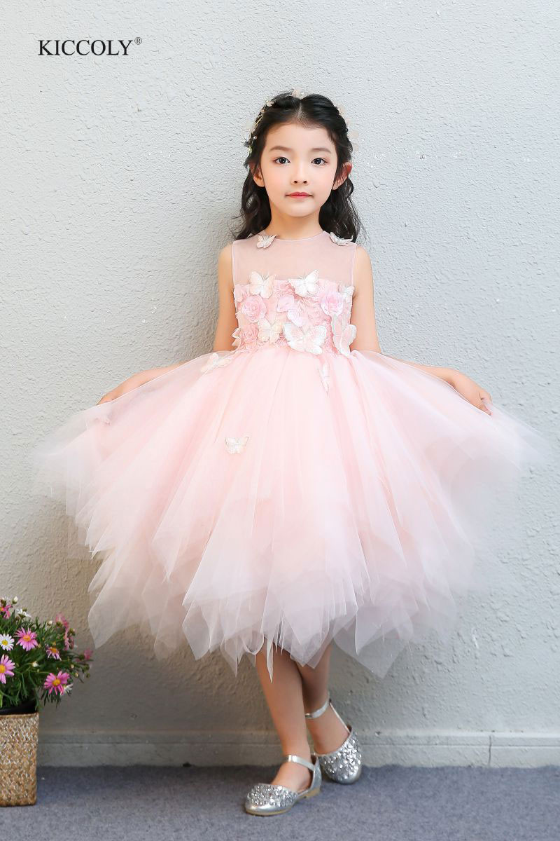 KICCOLY Summer 1-14T Luxuriant Lace Cake Tutu Girls Kids Wedding Flower Girl Dress Princess Party Pageant Dress Sleeveless Tulle ems dhl free shipping toddler little girl s 2017 princess ruffles layers sleeveless lace dress summer style suspender
