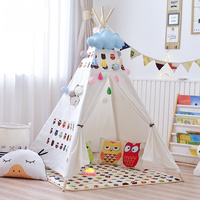 Kids Indoor Tent Four pointed Game House Cotton Canvas Pine Folding Toy Tent Props for Photography Children's Room Decoration