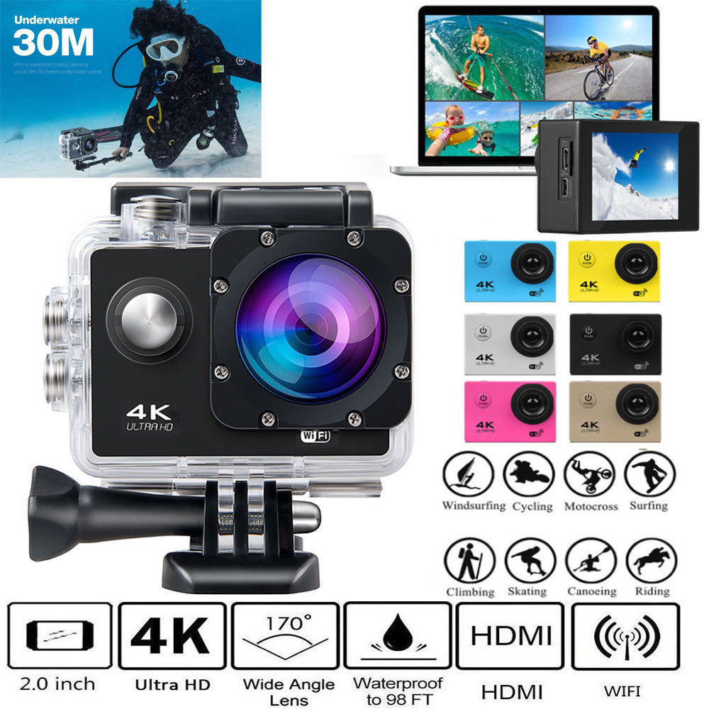 Ultra 4K Full HD 1080P Waterproof DVR Camera WiFi Cam DV Action Camcorder door wireless with monitor