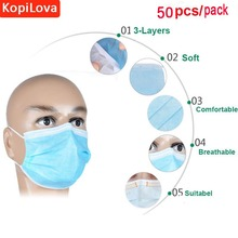 KopiLova 50pcs Blue Surgical Disposable Face Mask  Ear Loop 3 Layer Dental Medical Anti-dust Mouth Mask Surgical Respirator