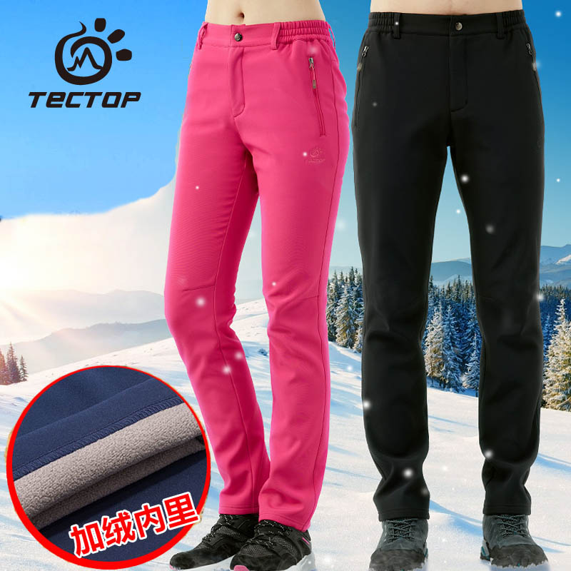Tectop Outdoor Trousers Male Women Soft Shell Pants Autumn And Winter Thermal Outdoor Hiking Pants Thick Waterproof Windproof