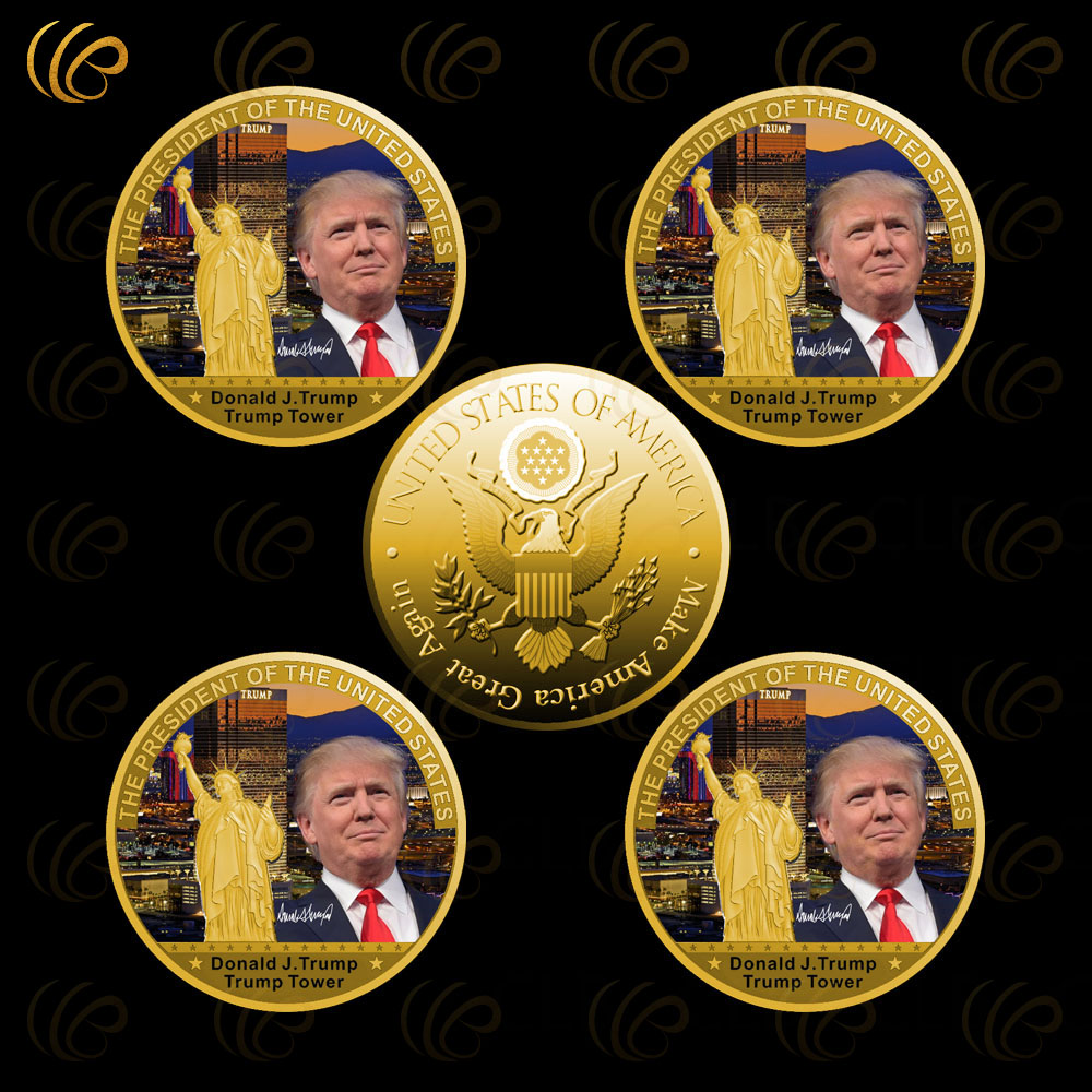 Wholesale Gold Coin Donald font b Trump b font Metal Coin The 45the President of The
