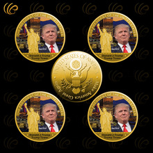 Wholesale Gold Coin Donald Trump Metal Coin The 45the President of The United States Round Coin with The Trump Tower Best Gifts