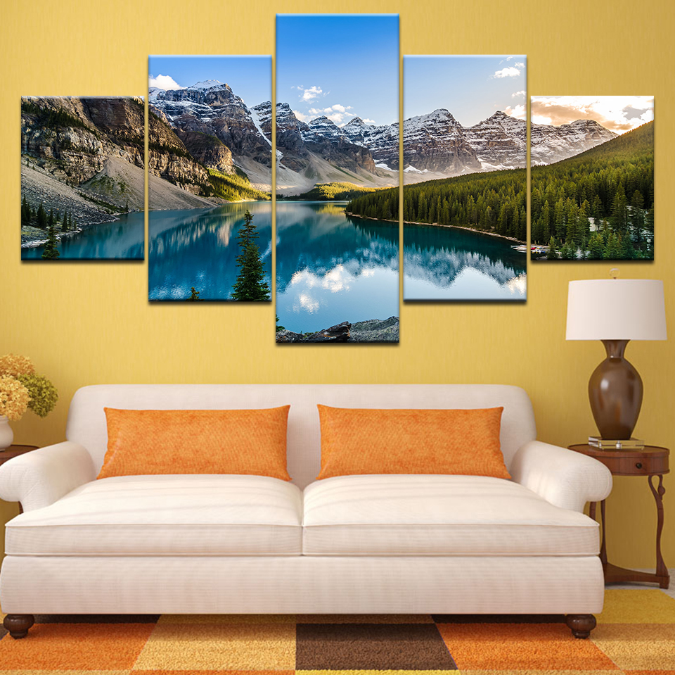 HD Print Paintings Canvas Home Decor Moraine Lake Sunset Mountain Clouds Forest River Nature Landscape Posters Wall Art Pictures in Painting Calligraphy from Home Garden