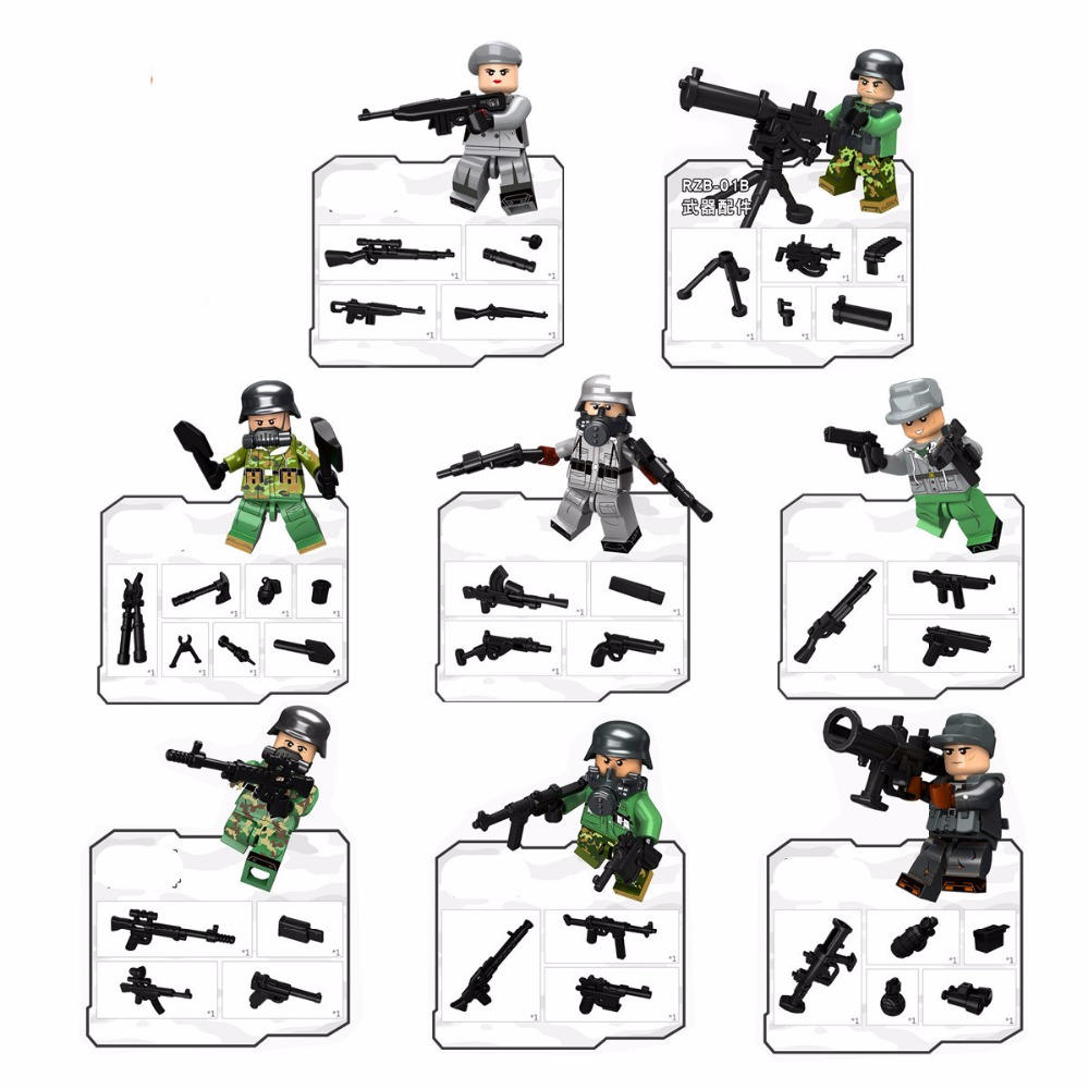 6pcs Army MILITARY Special Forces Soldiers WW2 SWAT Model DIY Building Blocks Brick Figures Educational Toys Gifts Boys Children military city police swat team army soldiers with weapons ww2 building blocks toys for children gift