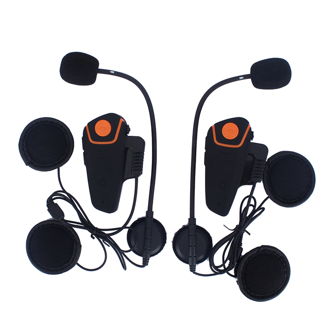 2 pcs 1000M Waterproof  Bluetooth Interphone Motorcycle Helmet Headset Intercom with FM Radio Bike-to-bike Intercom stereo music