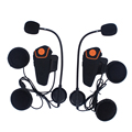 2 unids 1000 M Impermeable Bluetooth Casco de La Motocicleta Auriculares Intercom Interphone con FM Radio bici-a-bici Intercom música estéreo