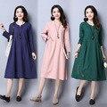 Alta qualidade 2017 nova elegante gravidez roupas dress para as mulheres grávidas soltas de algodão de linho roupas de maternidade vestidos longos ce340