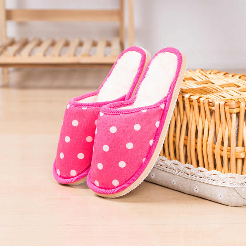 8879942a0cb Polka Dot Men Women Girls Indoor Soft Slippers Non-Slip Sole Open Heel House  Bedroom