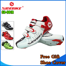Sidebike Unisex Bicycle Road Cycling Shoes Breathable MTB Non-Slip Road Bike Lock Shoes Zapatillas Ciclismo Bicicleta SD01 White