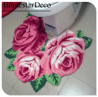 Tapis de toilette Anti-Slip Mat Salle de Bains pour la Toilette Tabouret Broderie Tapis Tapis de sol Tapis Rose Rose fleur Art 3D Tapis tapis