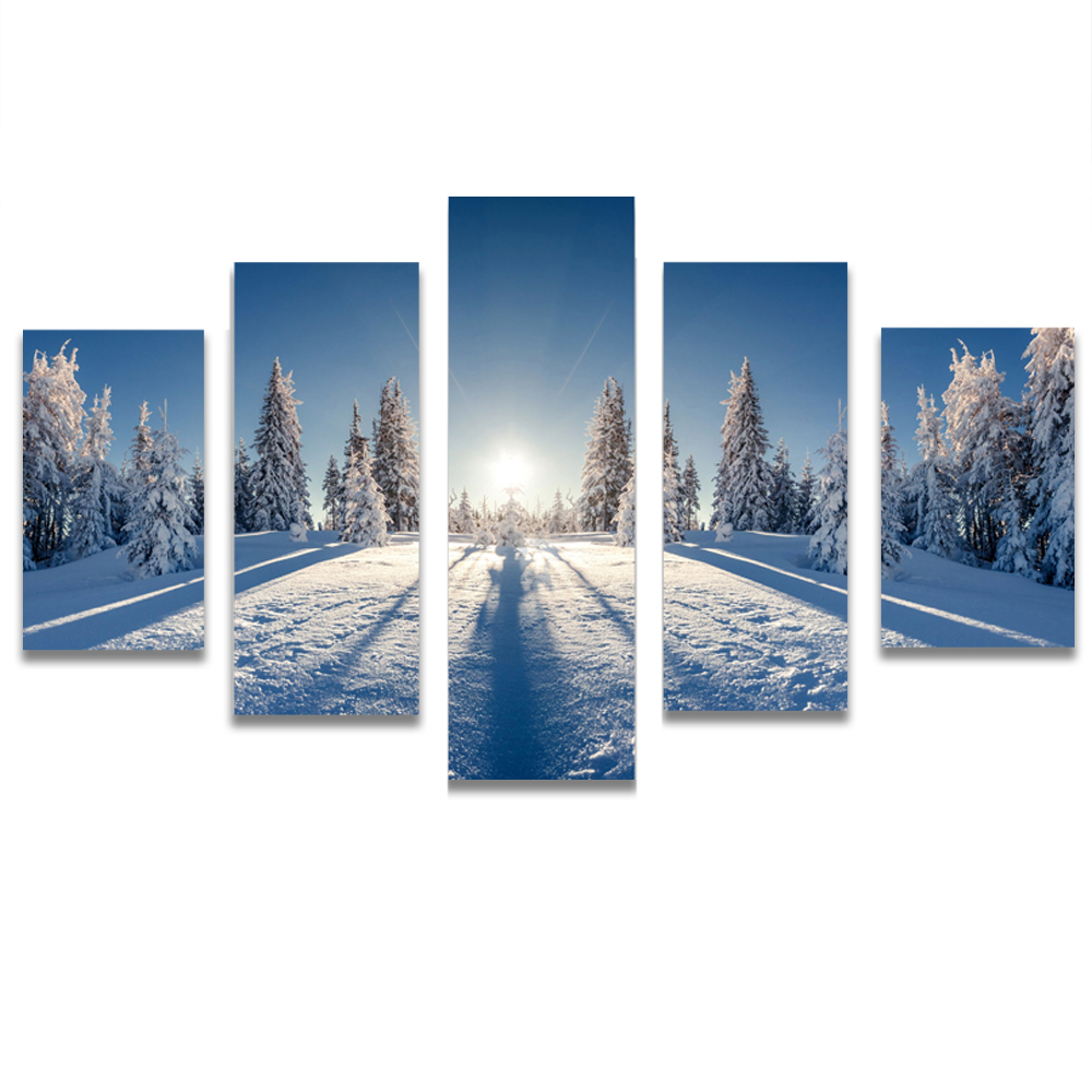 Unframed HD Canvas Prints Snow Mountain Sunshine Cedar Modular Picture Prints Wall Pictures For Living Room Wall Art Decoration