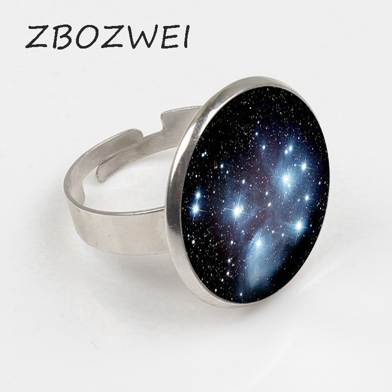 ZBOZWEI new Handcrafted Pleiades star cluster Ring Universe Galaxy Ring Space Jewelry Black Blue Silver Plated Ring
