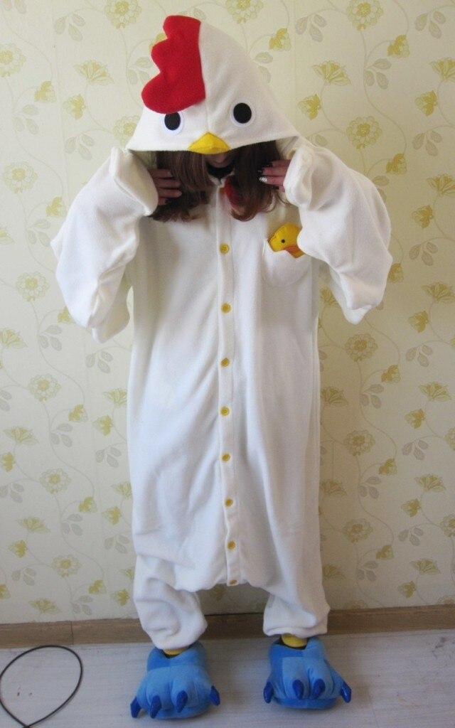 envo libre blanco de pollo de dibujos animados de una pieza onesies pijamas animal trajes cosplay